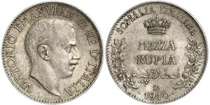 1/2 Рупия Kingdom of Italy (1861-1946) Серебро Виктор Эммануил III (1869 - 1947)