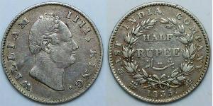 1/2 Рупія Британська Індія (1858-1947) Срібло Вільгельм IV (1765-1837)
