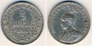 1/2 Рупія Німецька Східна Африка (1885-1919) Срібло