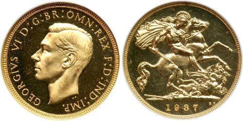 1/2 Соверен Велика Британія (1922-) Золото Георг VI (1895-1952)