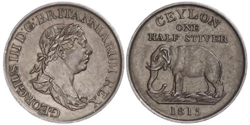 1/2 Стивер Шри Ланка/Цейлон / Соединённое королевство Великобритании и Ирландии (1801-1922) Медь Георг III (1738-1820)
