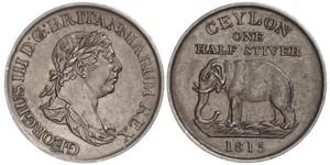 1/2 Стівер Шрі Ланка/Цейлон / Сполучене королівство Великобританії та Ірландії (1801-1922) Мідь Георг III (1738-1820)