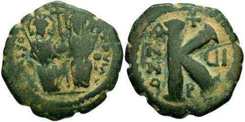 1/2 Фолліс Візантійська імперія (330-1453) Бронза Юстин II (520-578)