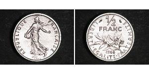 1/2 Франк Пятая французская республика (1958 - ) Никель