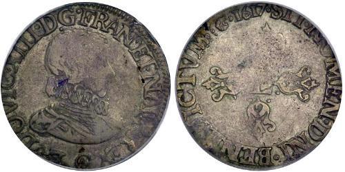 1/2 Франк Королевство Франция (843-1791) Серебро Людовик XIII, король Франции и Наварры (1601 - 1643)