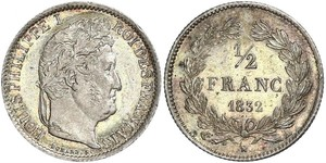 1/2 Франк Франция Серебро Луи-Филипп I (1773 -1850)