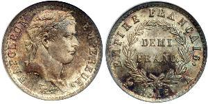 1/2 Франк Перша Французька імперія (1804-1814) Срібло Наполеон I Бонапарт(1769 - 1821)