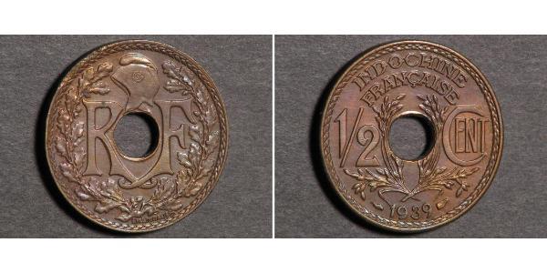 1/2 Цент Французский Индокитай (1887-1954) Бронза