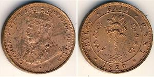 1/2 Цент Шрі Ланка/Цейлон Мідь Георг V (1865-1936)