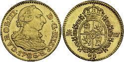 1/2 Эскудо Испанская империя (1700 - 1808) Золото Карл III король Испании (1716 -1788)