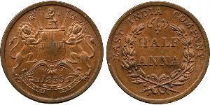 1/2 Anna 英属印度 (1858 - 1947) 銅