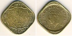 1/2 Anna Raj Británico (1858-1947) Níquel/Latón