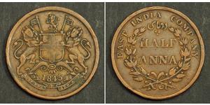 1/2 Anna Raj Britannico (1858-1947) Rame