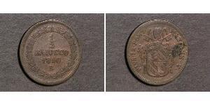 1/2 Baiocco 教皇国 (754 - 1870) 銅 Pope Pius IX (1792- 1878)