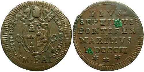 1/2 Baiocco Papal States (752-1870) Bronze Pope Pius VII (1742 -1823)