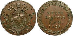 1/2 Baiocco Estados Pontificios (752-1870) Cobre León XII (1760 - 1829)
