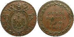1/2 Baiocco Papal States (752-1870) Copper Pope Leo XII (1760 - 1829)