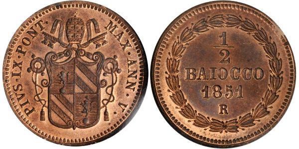 1/2 Baiocco Papal States (752-1870) Copper Pope Pius IX (1792- 1878)