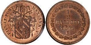1/2 Baiocco Kirchenstaat (752-1870) Kupfer Pius IX (1792- 1878)