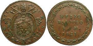 1/2 Baiocco Stato Pontificio (752-1870) Rame Papa Leone XII (1760 - 1829)