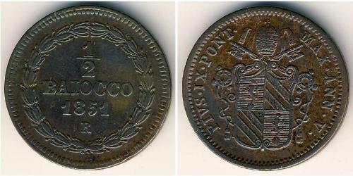1/2 Baiocco Stato Pontificio (752-1870) Rame Papa Pio IX (1792- 1878)
