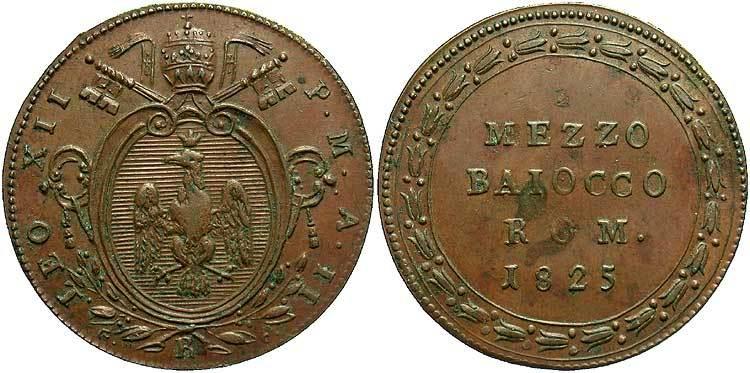 Moneta 1/2 Baiocco Stato Pontificio (752-1870) Rame 1825 ...