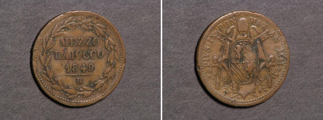 Moneta 1/2 Baiocco Stato Pontificio (752-1870) 1849 Prezzo