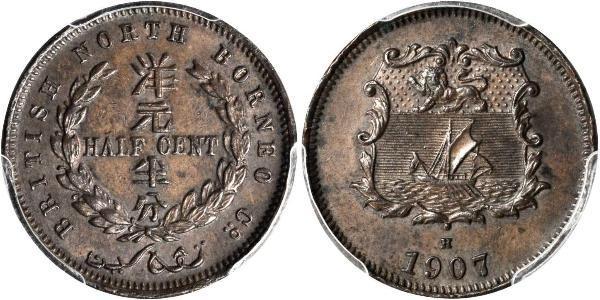 1/2 Cent Borneo Septentrional (1882-1963) Bronce
