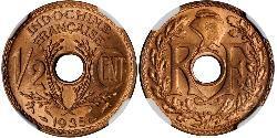 1/2 Cent Französisch-Indochina (1887-1954) Bronze