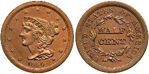1/2 Cent Estados Unidos de América (1776 - ) Cobre