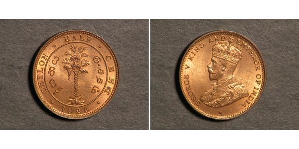 1/2 Cent Sri Lanka/Ceylon Copper George V of the United Kingdom (1865-1936)