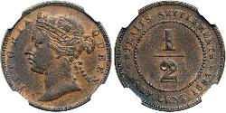 1/2 Cent Straits Settlements (1826 - 1946) Copper