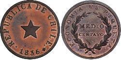 1/2 Centavo Chile Silber