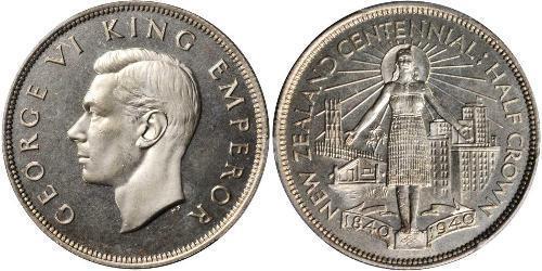 1/2 Corona Nuova Zelanda Argento Giorgio VI (1895-1952)