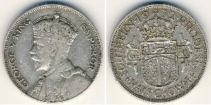 1/2 Corona Southern Rhodesia (1923-1980) Argento Giorgio V (1865-1936)