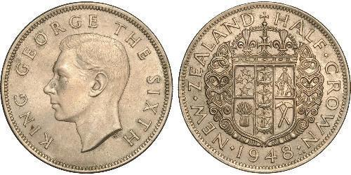 1/2 Crown Neuseeland Kupfer/Nickel Georg VI (1895-1952)