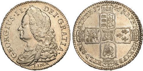 1/2 Crown Royaume de Grande-Bretagne (1707-1801) Or George II (1683-1760)