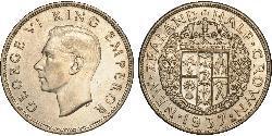 1/2 Crown Nueva Zelanda Plata Jorge VI (1895-1952)