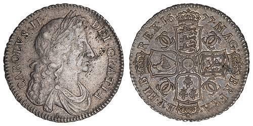 1/2 Crown Reino de Inglaterra (927-1649,1660-1707) Plata Carlos II (1630-1685)