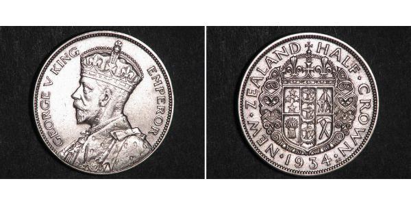1/2 Crown Neuseeland Silber George V (1865-1936)