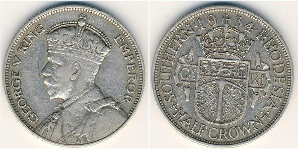 1/2 Crown Southern Rhodesia (1923-1980) Silver George V of the United Kingdom (1865-1936)