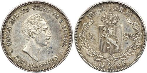 1/2 Daler Norvège Argent Oscar Ier de Suède (1799-1859)