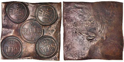 1/2 Daler Suecia Cobre Adolf Frederick of Sweden (1710 - 1771)