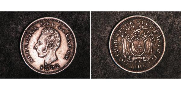 1/2 Decimo Ecuador Silver
