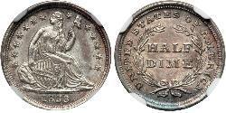 1/2 Dime / 5 Cent Vereinigten Staaten von Amerika (1776 - ) Silber/Kupfer