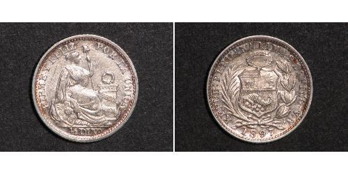 1/2 Dinero Peru Silber