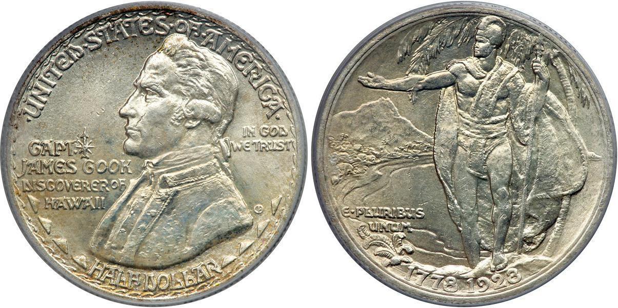 1 2 Dollar 1928 Usa 1776 Silver James Cook Prices