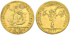 1/2 Doppia Papal States (752-1870) Gold Pope Pius VI ( 1717-1799)