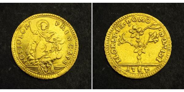 1/2 Doppia Papal States (752-1870) Gold Pope Pius VI ( 1717-1799)