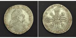 1/2 Ecu 中世纪的法国 銀 路易十四 (1638-1715)